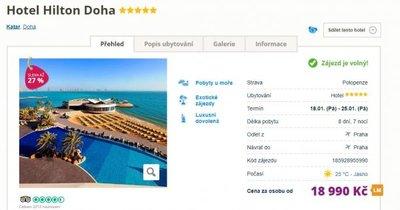 Katar z Prahy na 8 dní v 5* hotelu Hilton Doha s polopenzí za 18 990 Kč!
