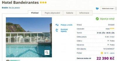 Brazílie: Rio de Janeiro z Prahy na 6 dní v hotelu se střešním bazénem se snídaní za 22 390 Kč!