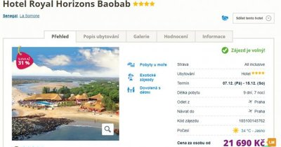 Senegal z Prahy ve 4* hotelu na 9 dní s All Inclusive za 21 690 Kč!