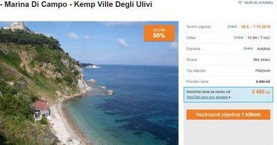 Itálie: ostrov Elba autobusem do bungalovu k moři na 10 dní za 3 490 Kč! Sleva 50 %!