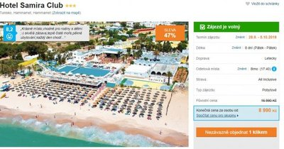 Tunisko z Brna s All Inclusive na 8 dní za 8 990 Kč! Sleva 47 %!
