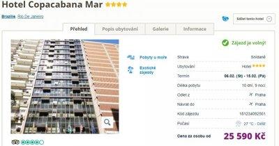 4* hotel se střešním bazénem u pláže Copacabana v Rio de Janeiru se snídaní na 10 dní za 25 590 Kč!