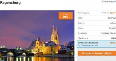 Autobusem na vánoční trhy do Regensburgu za 489 Kč! Sleva 39 %!