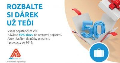 Všem pojištěncům VZP ČR dává 50% slevu na cestovní pojištění.
