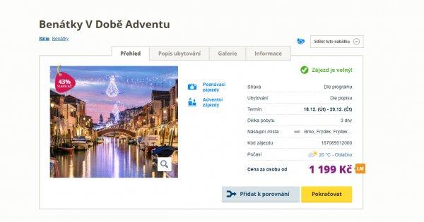 Adventní Benátky, autobusem na 3 dny za 1 199 Kč, sleva 43 %