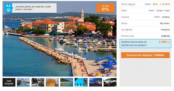 Autobusem do Chorvatska na 10 dní za 2 490 Kč, sleva 51 %