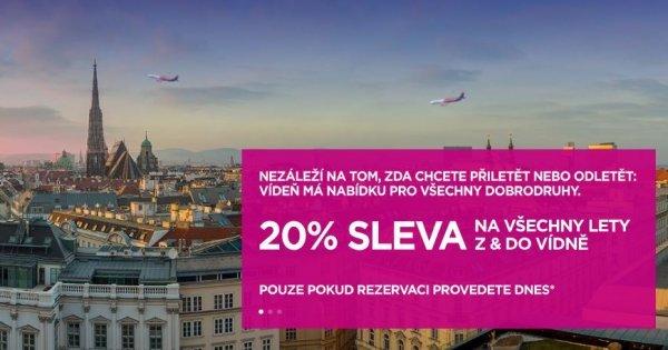 WizzAir: 20 % sleva na letenky z/do Vídně! Akce platí pouze dnes!