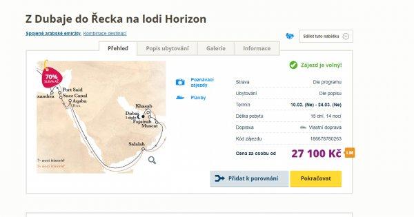 Lodí z Dubaje přes Omán až do Řecka na 15 dní za 27 100 Kč, sleva 70 %