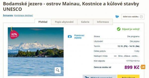 Švýcarsko víkendový zájezd autobusem k Bodamskému jezeru a do Kostnice za 899 Kč! Sleva 62 %!