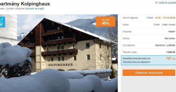 Lyžování: Apartmán v rakouském Tyrolsku blízko sjezdovek na 5 dní za 767 Kč! Sleva 45 %!