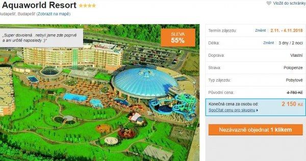 Aquaworld Resort v Budapešti: 3 dny v aquaparku s návštěvou Budapeště za 2 150 Kč! Sleva 55 %!