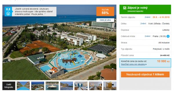 Turecko z Prahy na 9 dní s All inclusive za 10 990 Kč, sleva 55 %