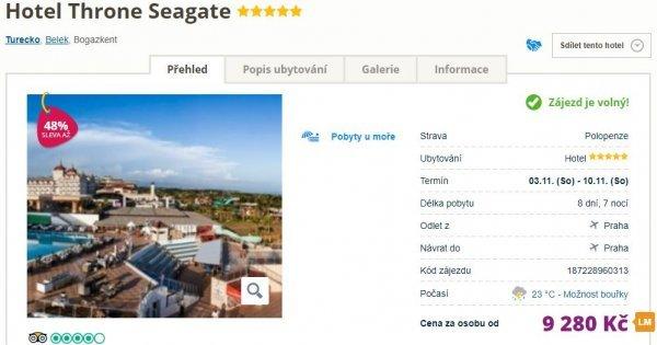 Turecko z Prahy na 8 dní s polopenzí v 5* hotelu za 9 280 Kč! Sleva 48 %!