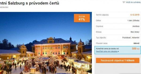 Na Mikuláše do Salzburku na průvod čertů a vánoční trhy za 589 Kč! Sleva 41 %!