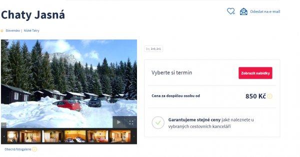Turistika nebo lyže v Nízkých Tatrách na 3 dny za 850 Kč