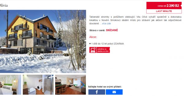 Slovensko na lyžích, 4 dny se snídaněmi za 2 290 Kč , poslední volný termín v prosinci