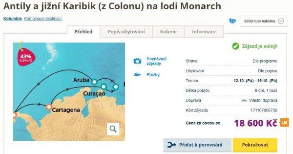Plavba lodí po Karibiku a Antilech na 8 dní s All Incusive za 18 600 Kč! Sleva 43 %!