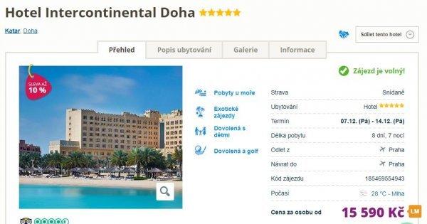 Katar z Prahy na 8 dní se snídaní v 5*hotelu u pláže za 15 590 Kč!