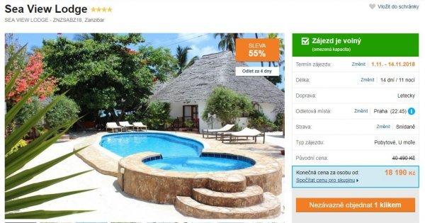 Zanzibar z Prahy na 14 dní v 4* hotelu se snídaní za 18 190 Kč! Sleva 55 %!