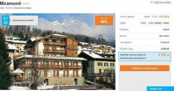 Apartmán v italském Trentinu za 2 535 Kč/osoba na 6 dní! Sleva 40 %!