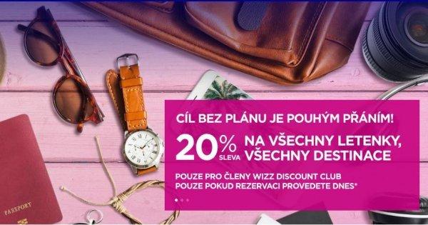 WizzAir: 20% sleva na všechny letenky pouze dnes pro členy Discount Clubu! Vyplatí se!