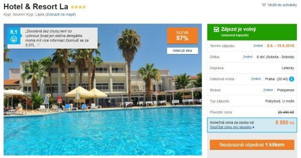 Kypr z Prahy s polopenzí za 8880 Kč, sleva 57%