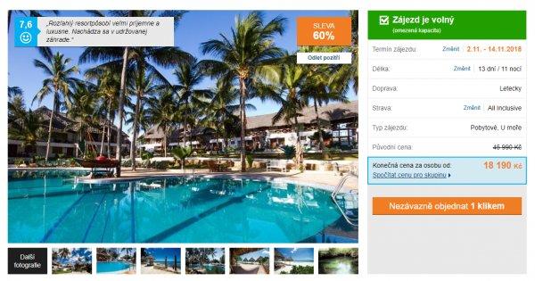 Zanzibar z Prahy na 13 dní s All inclusive za 18 190 Kč, sleva 60 %