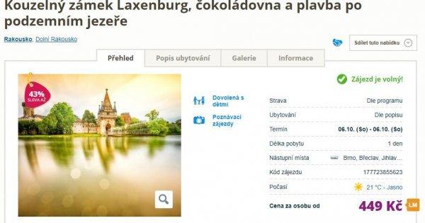 Sobotní celodenní výlet do Rakouska: zámek Laxenburg, čokoládovna a plavba po jezeře za 449 Kč!