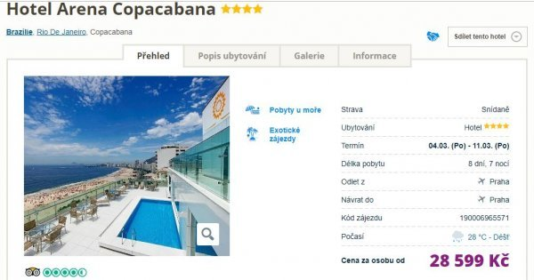 Rio de Janeiro z Prahy na 8 dní v 4* hotelu s výhledem na pláž Copacabana za 28 599 Kč!