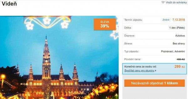 Autobusem na den do Vídně na procházku městem s průvodcem a vánoční trhy za 299 Kč! Sleva 39 %!