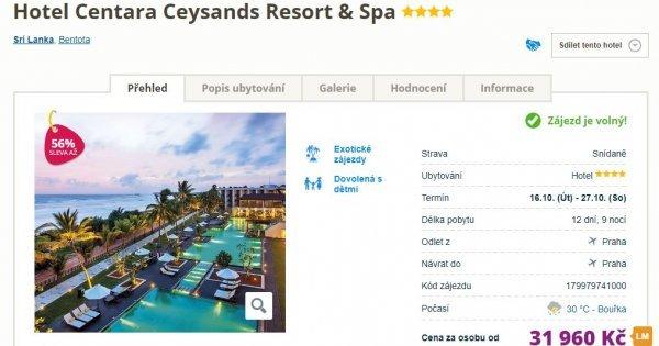 Srí Lanka z Prahy ve 4*hotelu na 12 dní s All Inclusive za 31 960 Kč! Sleva 56 %!