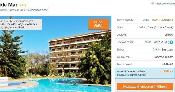 Tenerife z Vídně ve studiu s kuchyní na 8 dní za 8 198 Kč! Sleva 54 %!