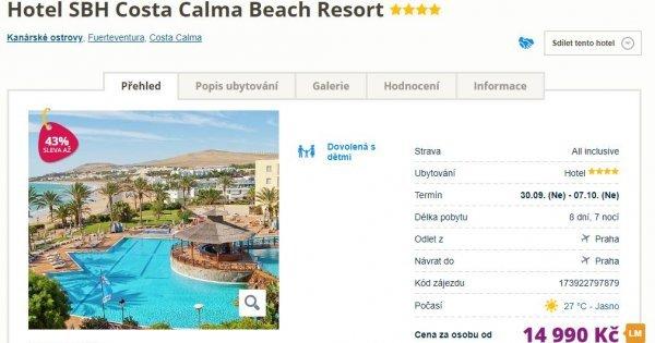Fuerteventura z Prahy na 8 dní s All Inclusive v 4* hotelu za 14 990 Kč! Sleva 43 %!
