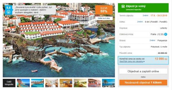 Madeira z Prahy na 8 dní s polopenzí za 13 990 Kč, sleva 55 %
