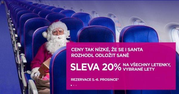 WizzAir - pouze dnes akce 20 % sleva na všechny letenky!