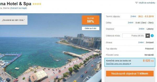Malta z Prahy na 8 dní v 4* hotelu se snídaní za 8 025 Kč! Sleva 58 %!