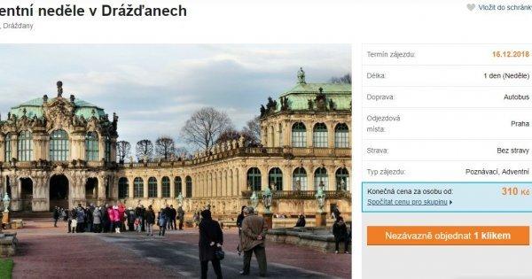 Na Vánoční trhy do Drážďan za 310 Kč!