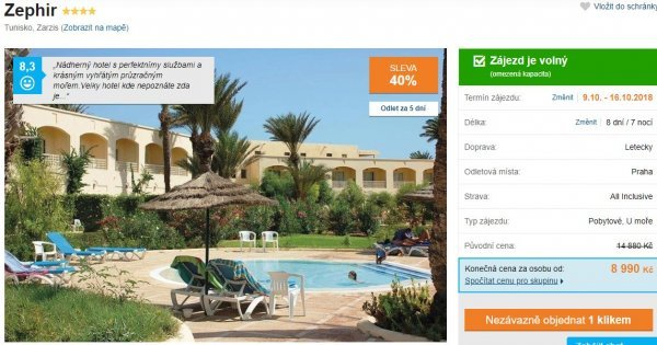 Tunisko z Prahy: 4* spa hotel s termálním bazénem na 8 dní s All Inclusive za 8 990 Kč! Sleva 40 %!