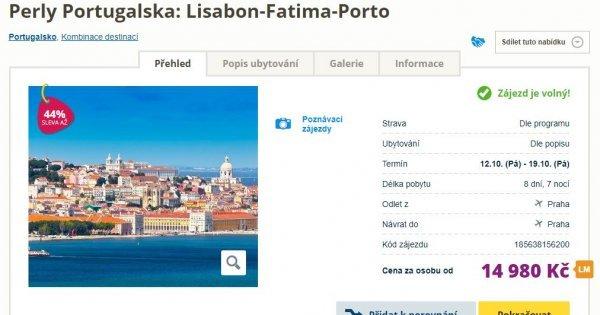 Poznávací zájezd do Portugalska: letecky z Prahy na 8 dní s polopenzí za 14 980 Kč + 200 Eur výlety!