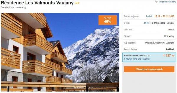 Francouzské Alpy v prosinci na 8 dní za 1 327 Kč! Apartmán u sjezdovek! Sleva 46 %!
