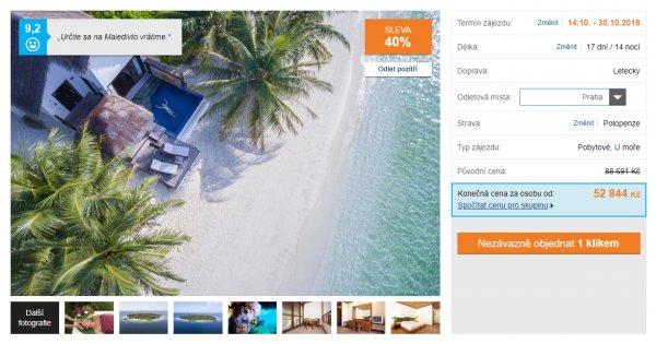 Maledivy z Prahy, Vídně a Budapešti na 17 dní s polopenzí za 55 844 Kč, sleva 40%
