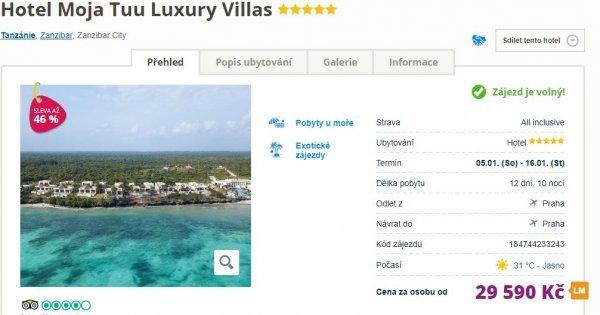 Zanzibar z Prahy na 12 dní v 5* hotelu s All Inclusive za 29 590 Kč! Sleva 46 %!