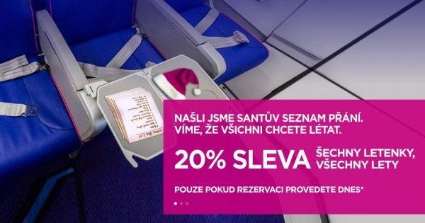 Vánoční akce WizzAir 20 % sleva na všechny letenky! Dubaj od 1 017 Kč/jednosměrná letenka!