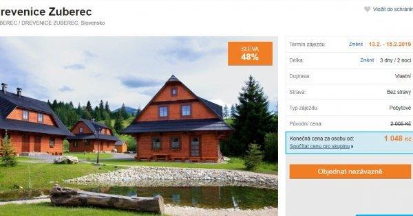 Slovensko na 3 dny v krásných dřevěnicích u termálních lázní a sjezdovek za 1 048 Kč! Sleva 48 %!