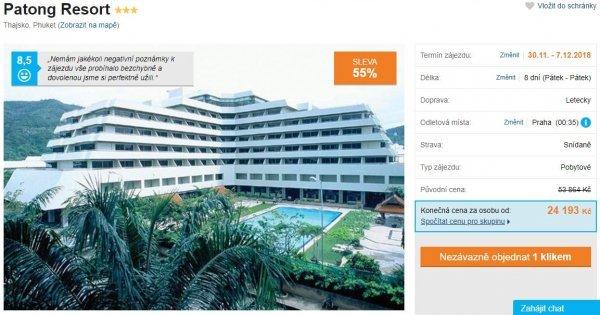 Thajsko: Phuket z Prahy na 8 dní se snídaní za 24 193 Kč! Sleva 55 %!