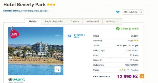 Gran Canaria z Prahy na 12 dní za 12 990 Kč, sleva 52 %