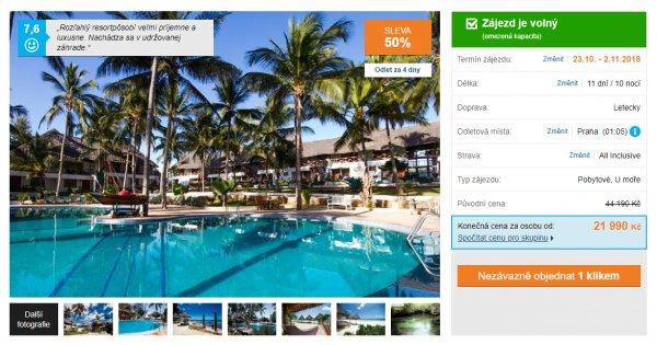 Zanzibar z Prahy na 11 dní s All inclusive za 21 990 Kč, sleva 50%