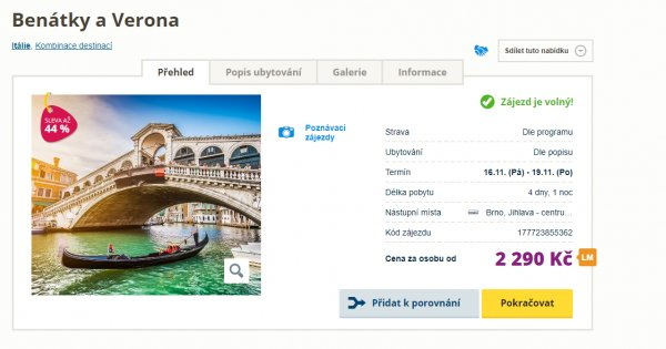 Za poznáním do nádherné podzimní Verony a Benátek za 2 290 Kč, sleva 44 %