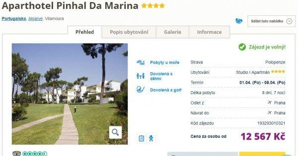 Portugalské Algarve z Prahy v apartmánu s polopenzí na 8 dní v dubnu za 12 567 Kč!