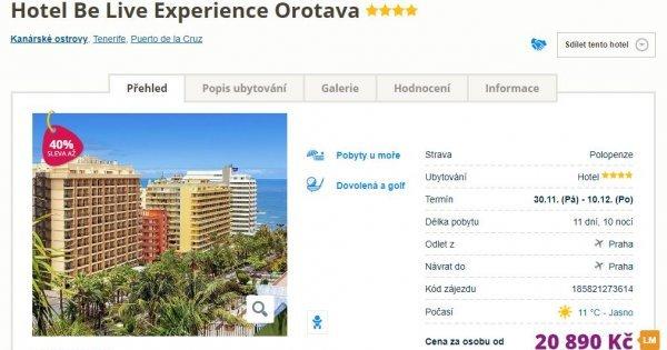 Kanárské ostrovy: Tenerife z Prahy na 11 dní s polopenzí za 20 890 Kč! Sleva 40 %!